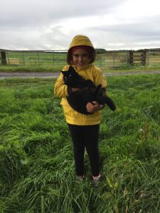 Delighted junior guest on farm tour with our cat