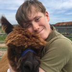 Scott & Cookie the alpaca at Newton Farm Holidays, Angus